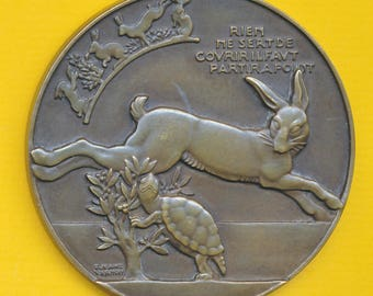 Large Bronze Art Deco medal by Vernon representing The Tortoise and the Hare - Turtle dated of 1948 (ref 1106)