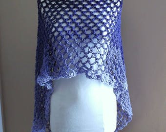 Hand Crochet Circle Poncho, Lightweight Poncho, Open Mesh Design Poncho, Hippie Chic, Variegated colors of Purple