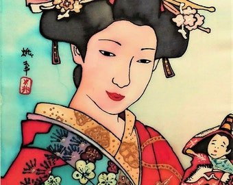 Free shipping Silk painting Geisha Vintage wooden frame Size: 29 x 37 cm