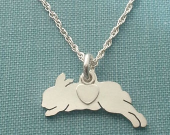 Bunny Rabbit Necklace, Sterling Silver Personalize Pendant, Netherland Dwarf Silhouette Charm, Rescue Shelter