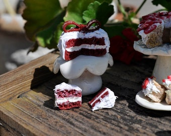 Miniature Red Velvet Cake with two slices, 1/12 scale, polymer clay, no calories, diet cake