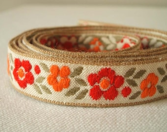 Vintage woven fabric ditsy floral trim in crimson and orange 3 yards