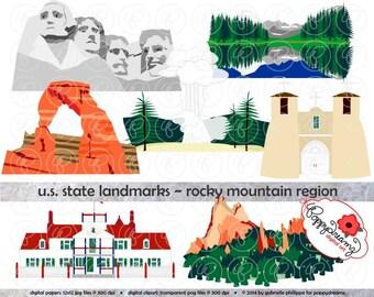 U.S. State Landmarks Rocky Mountains Region Digital Clip Art: Colorado New Mexico North Dakota South Dakota Wyoming MontanaTravel