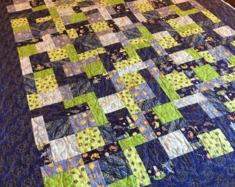 Purple and Chartreuse Under the Sea Bed Quilt - Approximately 81 by 57 1/2 inches