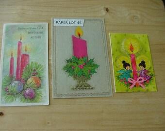 3 Vintage Christmas CardsFronts, Pink Candles, Scrapbook, Card Making, Upcycle, Ephemera,  Paper Lot 45