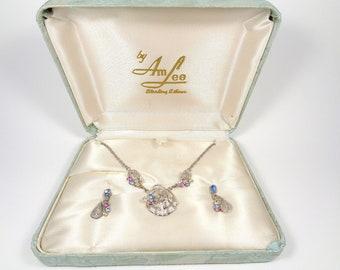 Vintage Am Lee Sterling Silver Pastel Rhinestone Necklace & Earrings Set
