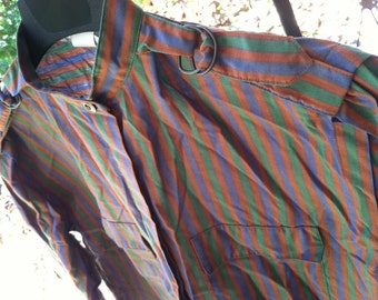 Great Vintage Striped Long Sleeve Shirt Straps with Brass Buckles on Shoulders Shapley Womens Size 10