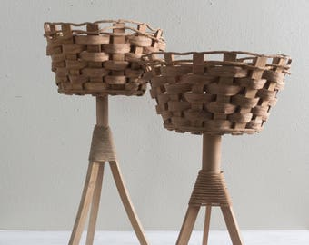 Set of Two Vintage Wicker Tripod Plant Stands