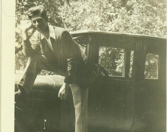 1920s The Cool Guy Posing On Car Sideboard 20s Vintage Photograph Black White Sepia Photo