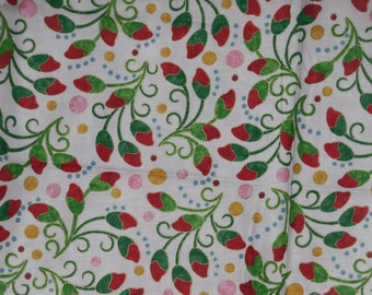 Floral Fabric 1 Yd Bliss Jane Spolar Red Flower Buds Metallic Cotton Northcott Remnant