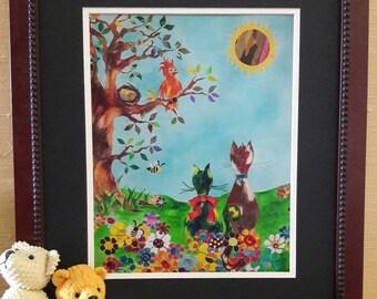 Art for child, Nursery decor, Baby shower gift, Birds lovers art, Cat lovers art, Girls room art, Floral art, Nursery wall art, Whimsy art