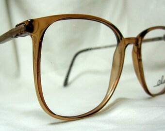 Vintage 80s Oversized Eyeglass Frames. Large Brown Glasses.