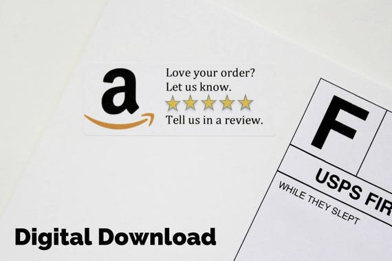 Digital download amazon review sticker printable custom sticker product packaging sticker amazon custom shipping supplies 5 star review from