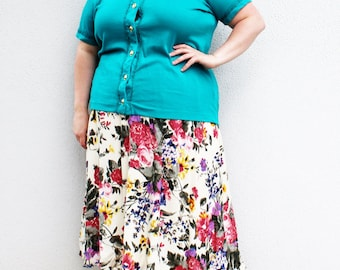 Plus Size - Vintage Turquoise Knit Button Front Blouse (Size 18/20)