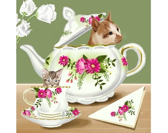 Cats - Print - 12 x 12 inches - Art - Teapots - China - Floral