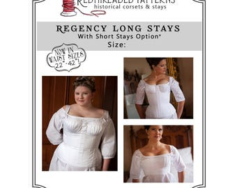 PDF DOWNLOAD Regency Long Stays size 24 Plus, Regency Corset Digital Pattern Jane Austen Empire Printable Sewing Pattern