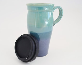 IN STOCK, Ceramic Travel Mug with Lid and Handle, 24 oz Stoneware Coffee Mug, Blue Green Large To Go Tea Mug with Sippy Lid