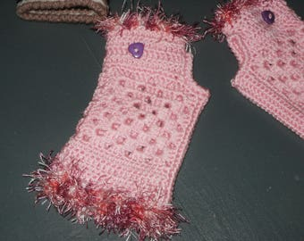 fingerless gloves pink wool for girl