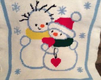 Baby Snowman Crochet Afghan Blanket Throw    ~~~~~ So Sweet ~~~~