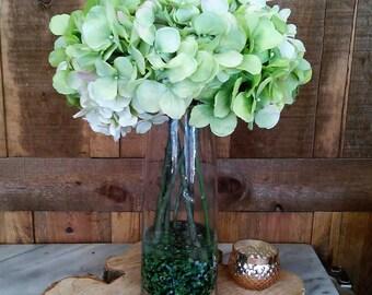 Green Hydrangea Faux Floral Arrangement- Artificial Flower Arrangement