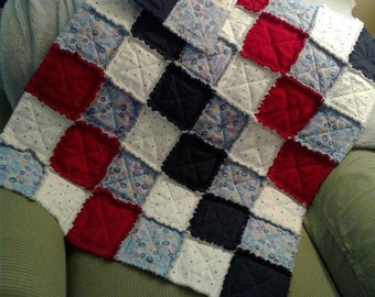 All Star Sports Red White and Blue Baby Boy Rag Quilt