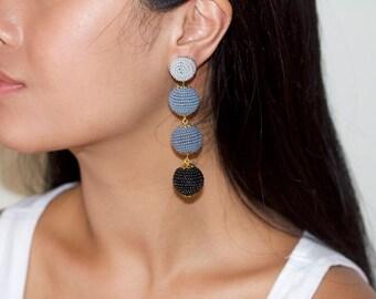 Long drop mix earrings