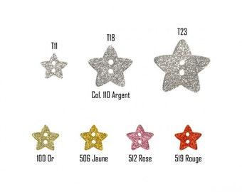 BOUTON Lot de 6 Boutons étoiles pailletées 2 trous 3 couleurs au choix en 11 mm