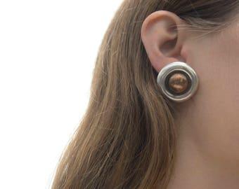 William Spratling Earrings, Taxco Silver, Art Deco, Mexican Silver Earrings, Modernist Earrings, Dome Earrings, 1940s Earrings, 40s Mexican