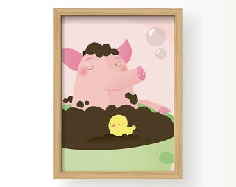 Nursery art, Art poster, Girl Nursery art, Childrens room art, Art print, Vector art, Pig poster, Piggy bath, Poster kinderkamer, Pig art