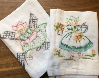 Little Dutch Girl Embroidered Dish Towels
