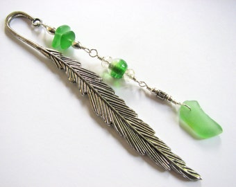 Sea Glass Bookmark Beaded Silver Feather Bookmark Green Seaglass Metal Bookmarks Book Lover Gifts under 30