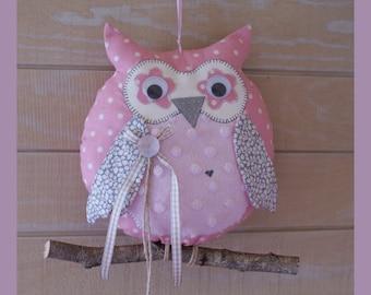 OWL on a branch girl nursery fabric