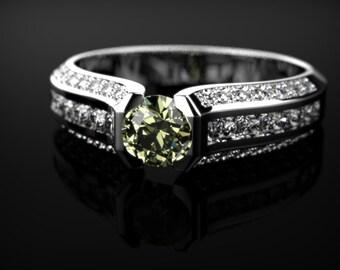 Peridot Ring Sterling Silver Peridot Engagement Ring Peridot Engagement Ring Gemstone Ring Peridot Ring August Birthstone Ring