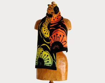 Bold Flower Scarf or Wrap, wearable art, fine merino scarf, winter accessory, gift for her