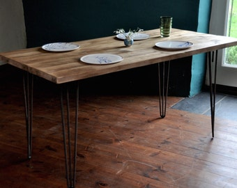 Dining Table Reclaimed Industrial Rustic Wood Table Hairpin Legs 7MAGOK  Vintage Scaffold Wood Table Rustic Scaffold