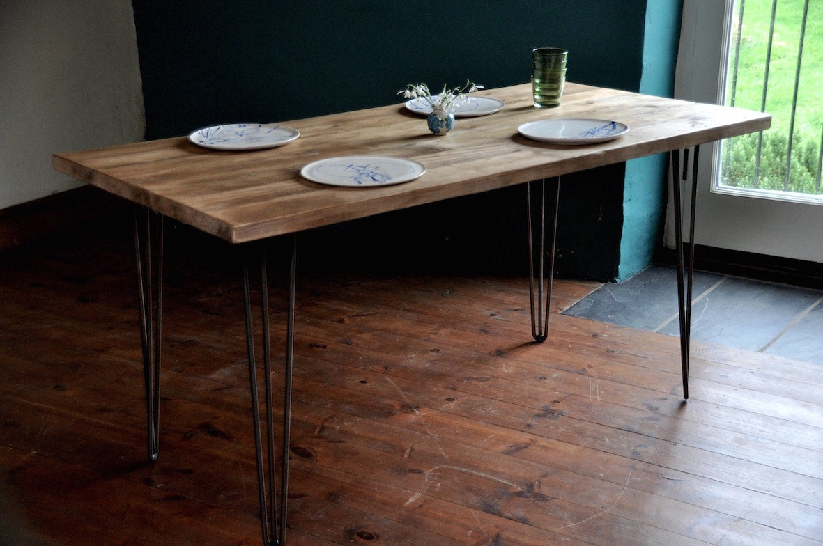 Dining Table Reclaimed Industrial Rustic Wood Table Hairpin