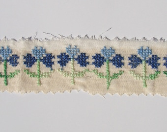 Embroidery cross stitch patch on canvas-degradable, sold by the yard decoration, sewing.