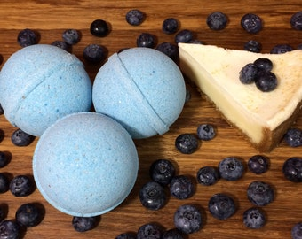 Blueberry Cheesecake Bath Bombs / Fizzy, Infused with Organic Fragrance, Naturally Vegan