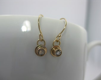 diamond and gold earrings, brown diamonds, conflict free diamond earrings, gold earrings, dangle earrings, 14k gold earrings, recycled gold