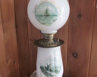 Boudoir Lamps Antique Oil Lamp Round Ball Globe Lamps Art Nouveau Lamp Decor Glass Table Lamps Victorian Kerosene Parlor Lamp Nautical Decor