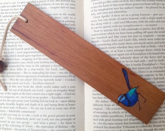 Wooden Bookmark - Blue Wren on Sheoak - Pyrography