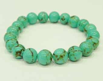 Dyed turquoise stretch gemstone bracelet| Blue turquoise| Green turquoise| Choice of colour|Men| Women| Unisex| Stackable