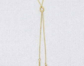 Knot and Plunging Bars Y-Shaped Necklace