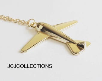 Airplane Necklace, Airplane Jewelry, Gold Necklace