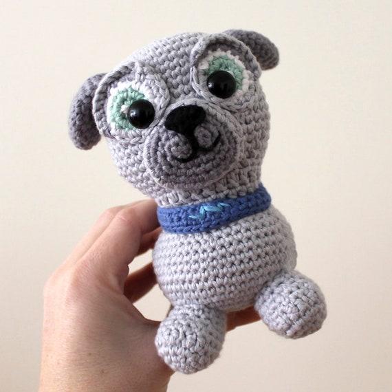 Bingo - Toy. Puppy Dog Pals Crochet Toy, Dog Crochet, Made to Order, Puppy Doll, Pug, Pugster, Nursery Crochet, Kids Gift, Dog Toy, DIY