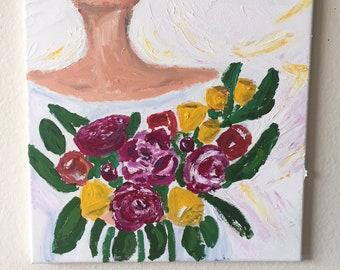 Original Acrylic Art Here Comes the Bride #2