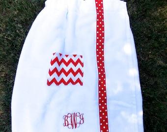 Women's personalized  spa towel wrap monogrammed towel wrap straps cell phone pocket spa towel  chevron trim