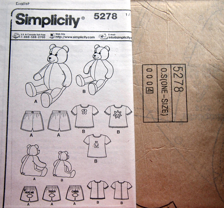 15 Zoll und 18-Zoll-Bär und Kleidung von Einfachheit 5278 ...