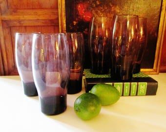 Six Vintage Amethyst Libbey HiBall Glassware, Purple Glassware, Set of Six, Retro Glassware, Barware, Mod Water Glasses