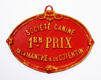 A french dog show trophy plaque circa 1926, French Canine 1er Prize Trophy, Wall Mounted Dog Trophy, Red and Gold Dog Trophy (605)